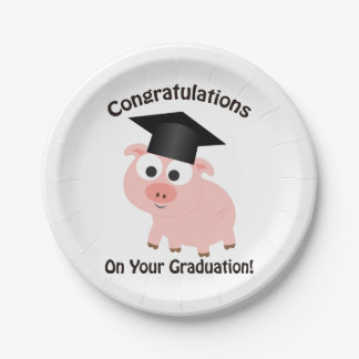 Congratulations on Your Graduation! Pig 7 Inch Paper Plate
