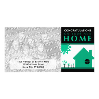 congratulations on your new home (green shapes) picture card
