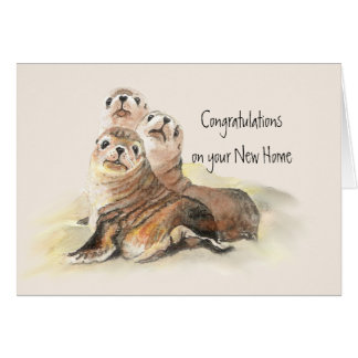 Congratulations on Your  New Home Humor Cute Seals Greeting Card