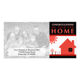 congratulations on your new home (red shapes) personalized photo card