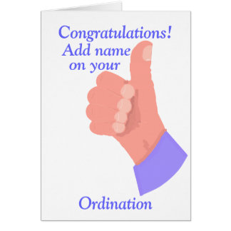 Congratulations on your Ordination customize Card