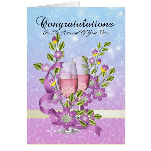 congratulations on your vow renewal with flowers cards