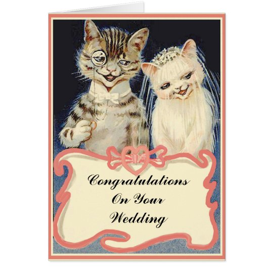 Congratulations On Your Wedding Vintage Cats Greeting Card
