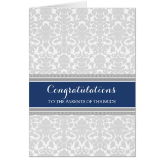 Congratulations Parents of the Bride Blue Gray Greeting Card
