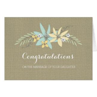 Congratulations Parents of the Bride Burlap Greeting Card