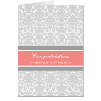 Congratulations Parents of the Bride Coral Gray Card