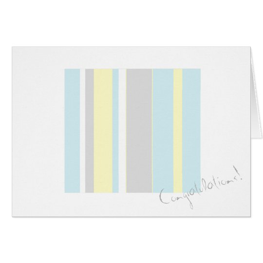 Congratulations Pastel Colours Stripe Greeting Card