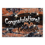 Congratulations Ph.D. Graduate Orange and Black Greeting Cards