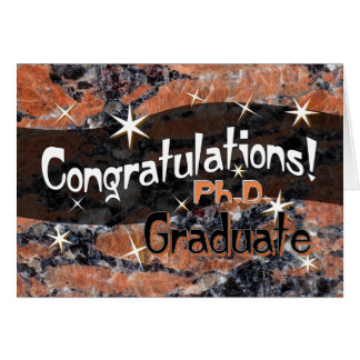 Congratulations Ph.D. Graduate Orange and Black Greeting Card