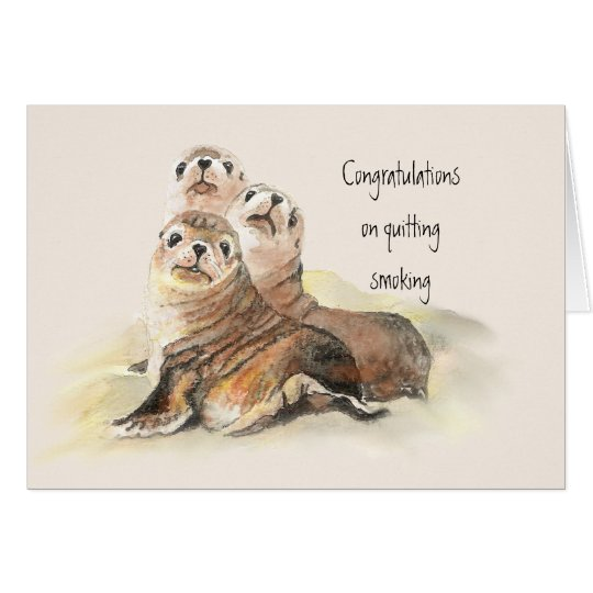 Congratulations Quitting Smoking Humour Cute Seals Card