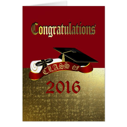 Congratulations Red and Gold Graduation Card