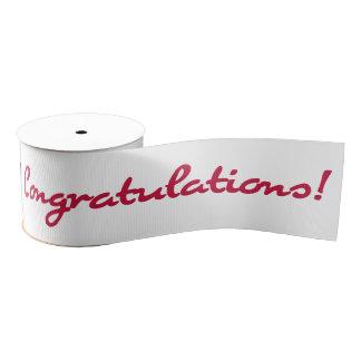 Congratulations Red Casual Script Grosgrain Ribbon