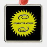 Congratulations Silver-Colored Square Decoration
