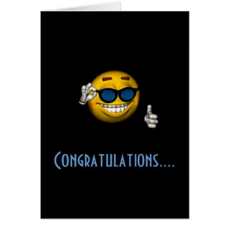 """Congratulations"" - Smiley w/ Sunglasses Greeting Card"