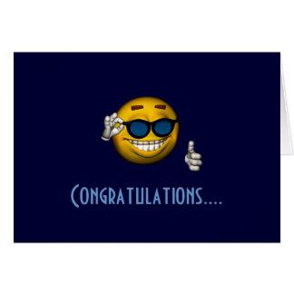 """Congratulations"" - Smiley w/ Sunglasses Greeting Card"