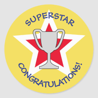 Congratulations star trophy yellow classic round sticker