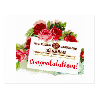 Congratulations Telegram Roses Vintage Postcard