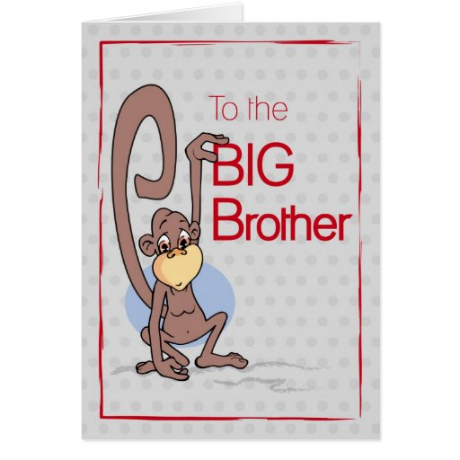 Congratulations to the Big Brother, Cute Monkey Greeting Cards