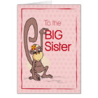 Congratulations to the Big Sister, Monkey on Pink Card