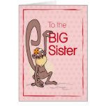 Congratulations to the Big Sister, Monkey on Pink Greeting Card