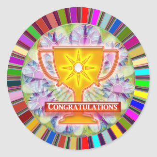 CONGRATULATIONS : Trophy and Sparkle Wheels Decor Classic Round Sticker