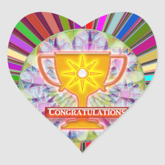 CONGRATULATIONS : Trophy and Sparkle Wheels Decor Heart Sticker