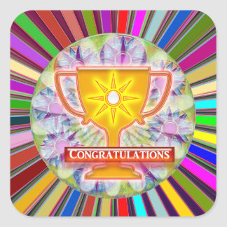 CONGRATULATIONS : Trophy and Sparkle Wheels Decor Square Sticker