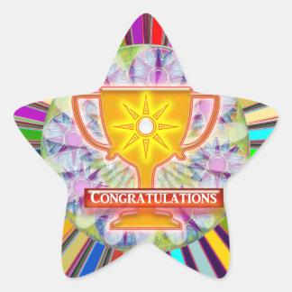 CONGRATULATIONS : Trophy and Sparkle Wheels Decor Star Sticker