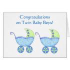 Congratulations Twin Baby Boys Blue Buggy Card