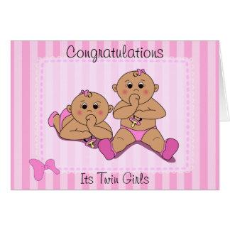 Congratulations - Twin Baby Girls Custom Card