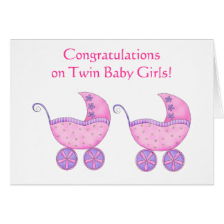 Congratulations Twin Baby Girls Pink Buggy Card