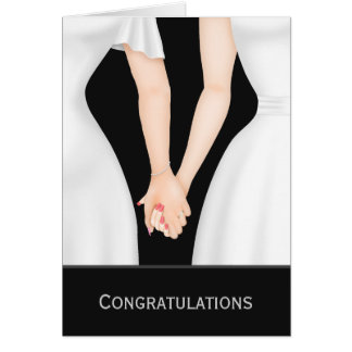 Congratulations Two Brides In Dresses Wedding Card