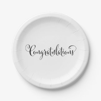 Congratulations Typography Paper Plate