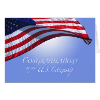Congratulations US Citizenship US Flag Flying Sun Greeting Card