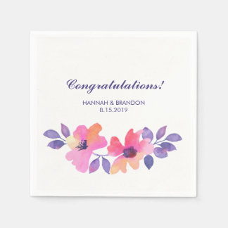 Congratulations Watercolor Spring Floral Wedding Disposable Napkins