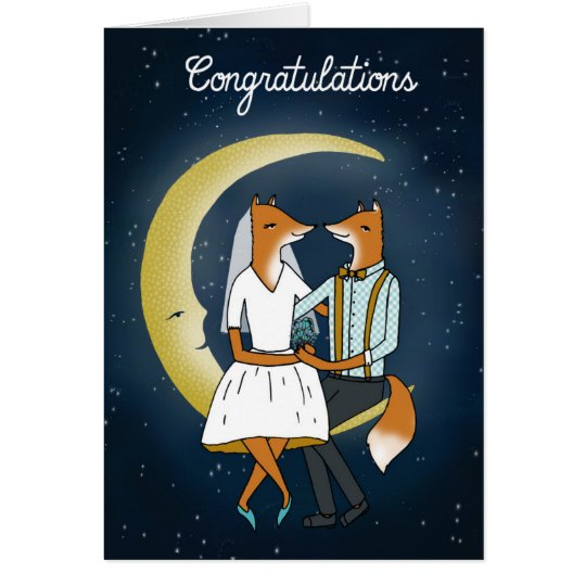 Congratulations Wedding Card - Foxes in the Moon