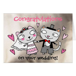 congratulations wedding cartoon cats card