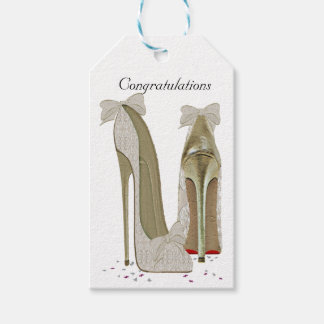 Congratulations Wedding Stiletto Shoes Gift Tag