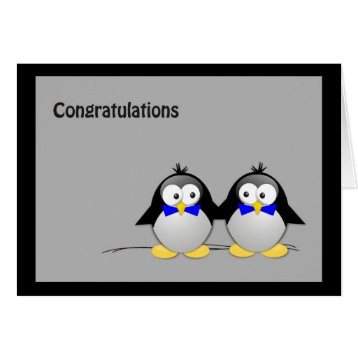 Congratulations Wedding/ Union Gay- Penguins Greeting Cards