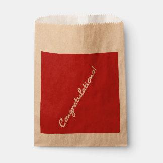 Congratulations White Casual Script Favour Bags