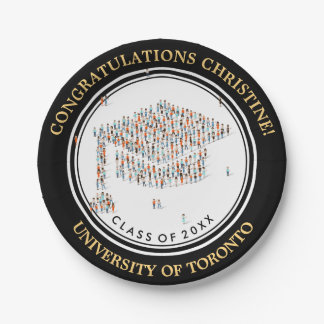 Congratulations with little people Graduation cap Paper Plate