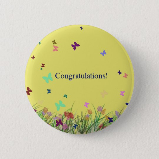 Congratulations  yellow butterfly background 6 cm round badge