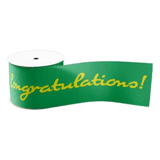 Congratulations Yellow Casual Script Grosgrain Ribbon