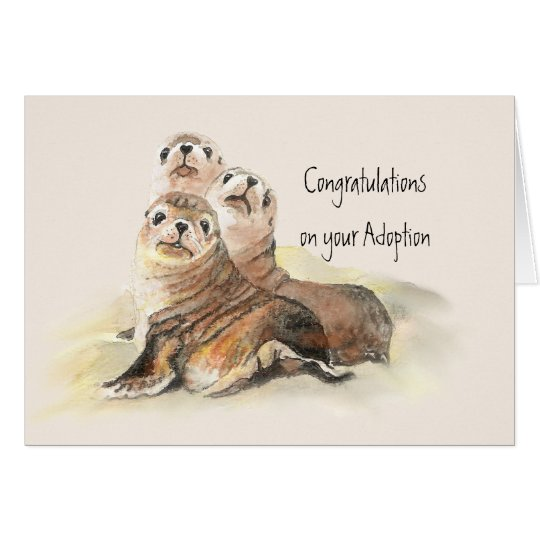 Congratulations your Adoption Cute Seals Card