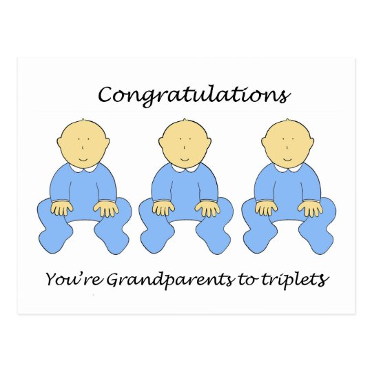 Congratulations you're Grandparents to triplet boy Postcard