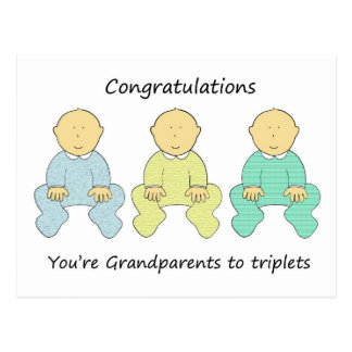 Congratulations, you're Grandparents to triplets. Postcard