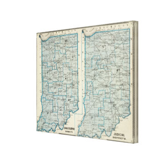 Congressional districts Judicial districts Indiana Canvas Print