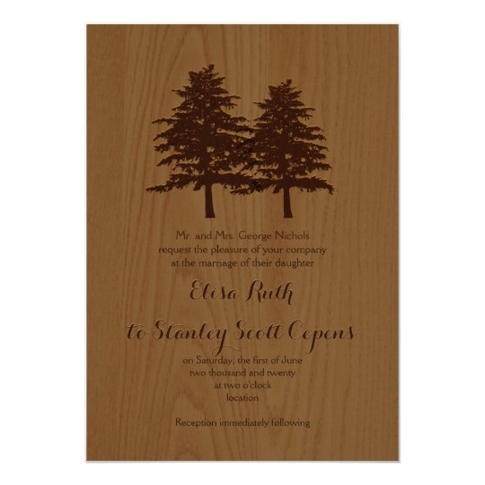 Conifer trees on wood brown woodland wedding card