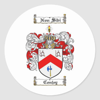 CONLEY FAMILY CREST -  CONLEY COAT OF ARMS ROUND STICKER