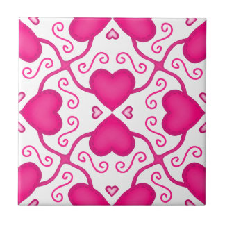 Connected Hearts Hot Pink on White Valentine's Day Tile